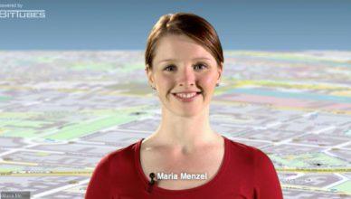 Volontärin Maria Menzel, Stammredaktion DIE WELT/Berliner Morgenpost, moderiert das interaktive Neukölln-Video der Axel Springer Akademie.