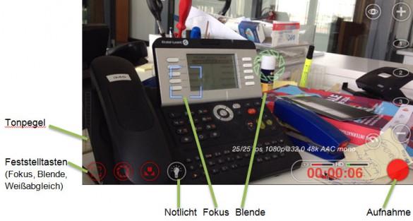 Screenshot: Die wichtigsten Funktionen von Filmic Pro
