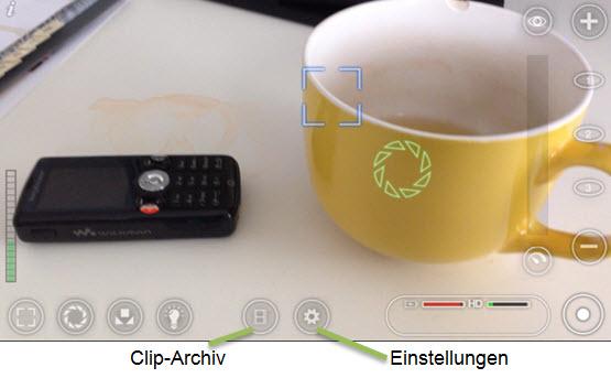 Screenshot: Clip-Archiv und Einstellungs-Button