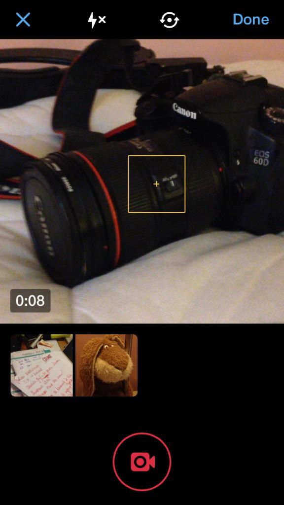 Screenshot der Videokamera in der Twitter-App