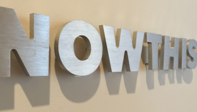 NowThis Logo am Firmensitz am Broadway in New York