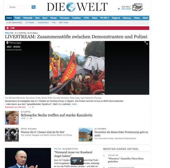 """Homepage der """"Welt"""". Wie Periscope einbinden?"""