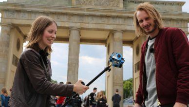 Videojournalists Susanne Dickel and Henrik Neumann, Die Welt, in Berlin.